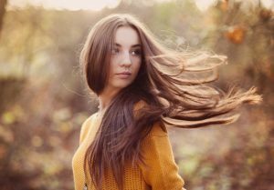 girl with long flowing hair